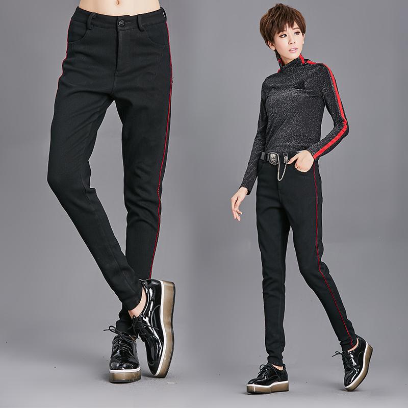 实拍8692#冬季新款休闲裤加厚加绒保暖显瘦弹力仿牛仔女裤铅笔裤