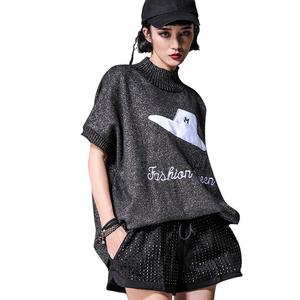 实拍1093#大码女装毛衣春季新款短袖宽松银线帽子图毛衣外穿打底