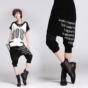 实拍8331#欧洲范女休闲裤新款哈伦裤拉链字母莫代尔宽松胯裆裤