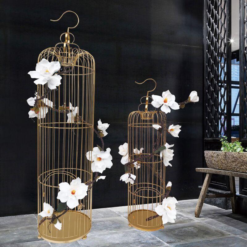 铁艺装饰鸟笼欧式婚庆橱窗摆件婚礼金属摄影道具金色