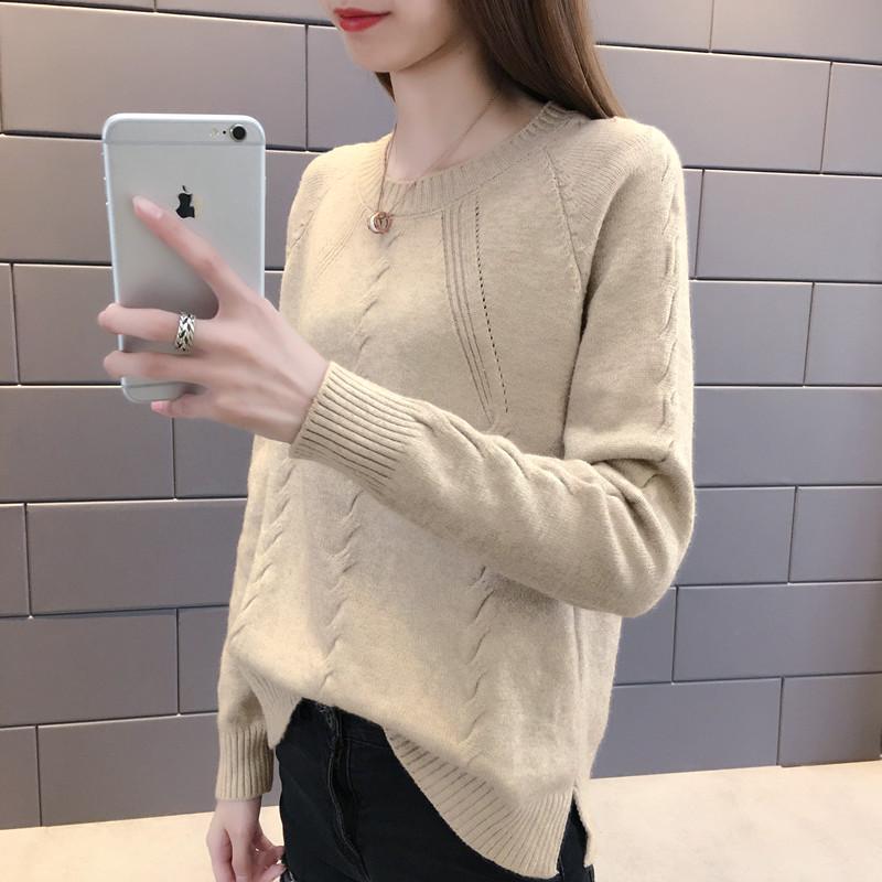 9 韩版女装圆领针织衫春秋季新款时尚套头打底衫毛衣纯色外套潮