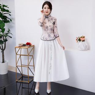 旗袍兩件套夏款復古裝漢服中國風日常改良少女連衣裙學生文藝唐裝