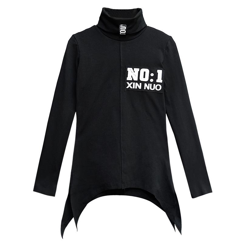 秋冬高领套头打底衫立体字母个性开叉不对称百搭上衣修身弹力T恤
