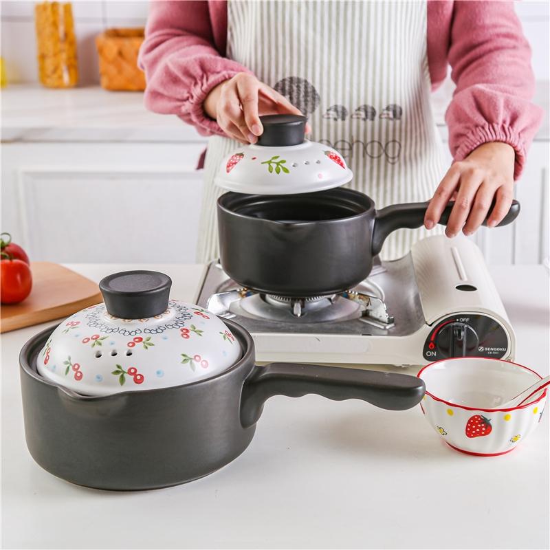 陶瓷奶锅宝宝辅食锅单柄不粘锅日式家用热牛奶煮泡面煮粥燃气砂锅