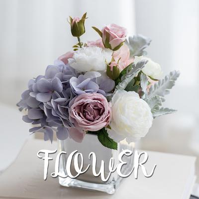 绣球玫瑰仿真花假花轻奢客厅茶几电视柜餐桌床头装饰花束绢花摆件