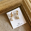 925 Silver needle Earrings the republic of korea temperament Tie modelling Special-shaped Pearl Asymmetry AB Ear Studs Earrings Earrings