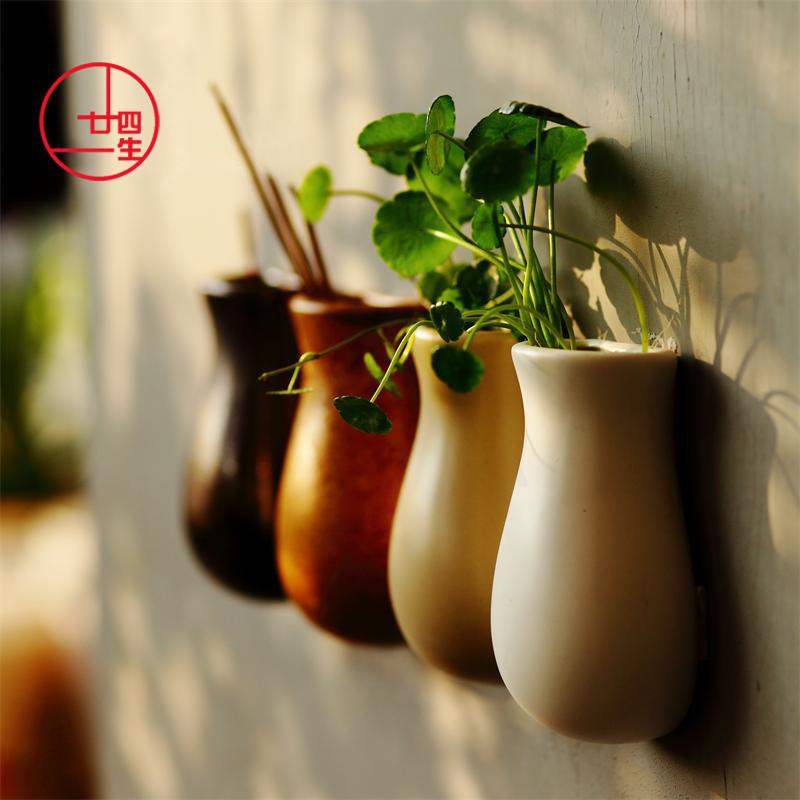 三山堂壁挂墙上装饰经典挂墙陶瓷花瓶水培花器小清新创意时尚花插