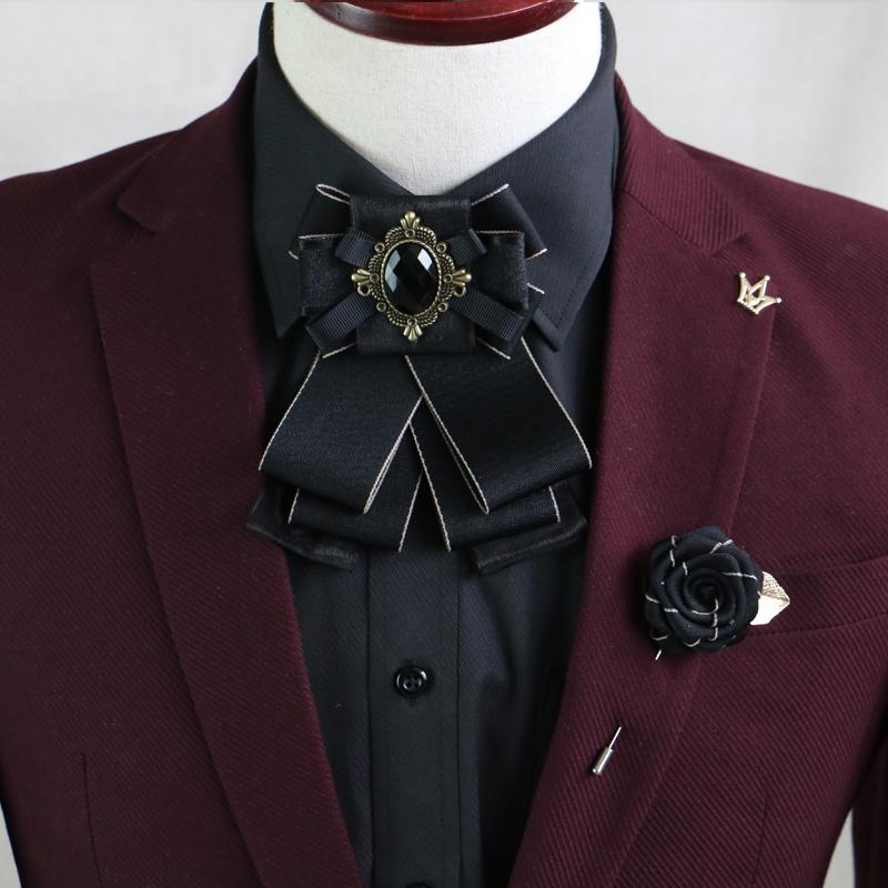 男士领花男钻金属领结婚服饰主持新郎领针衬衫领结演出饰品胸针女
