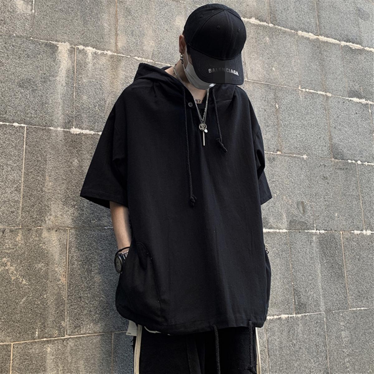 夏季2020新款韩版ins黑色上衣外套宽松bf风短袖T恤连帽卫衣男女潮图片