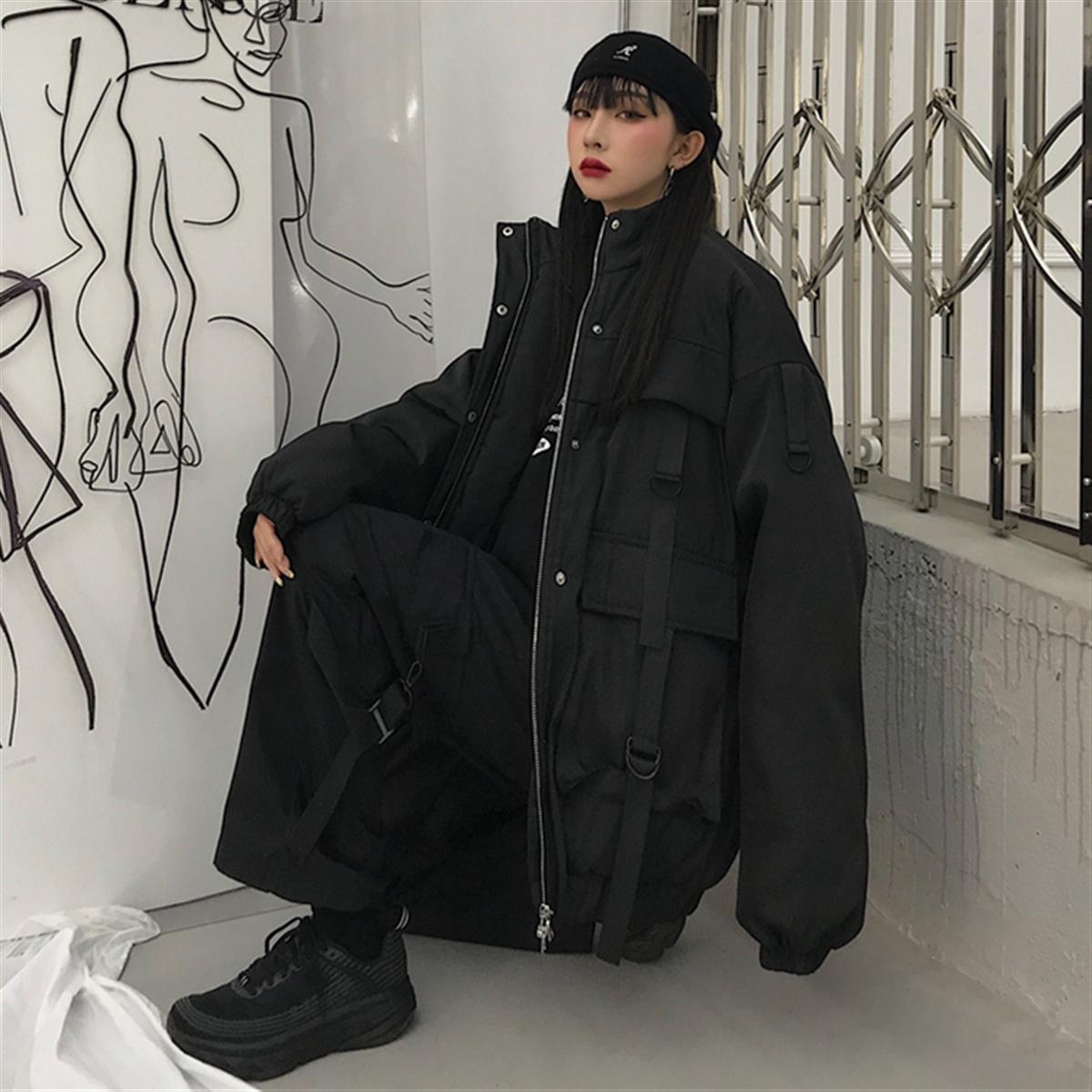 秋冬韩版ins街头百搭工装飘带运动夹克bf宽松加厚棉服外套男女潮