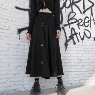 夏季韓版ins暗黑個性鎖釦半身裙女學生百搭高腰長款A字百褶裙子潮