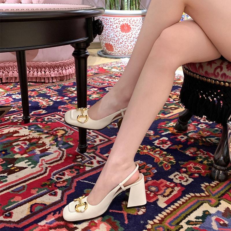 2021年夏季新款包头凉鞋女粗跟真皮镂空圆头复古时尚百搭高跟单鞋