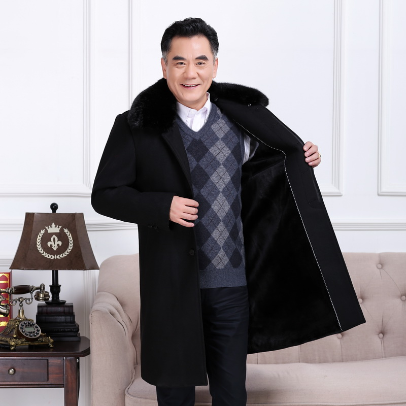 Middle aged mens overcoat middle-aged and old mens Woolen long overcoat