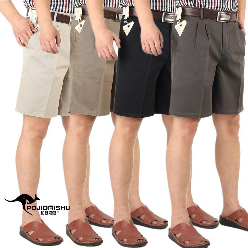 夏の老人の純綿カジュアルパンツの中高年男性は薄くて空気がよく通る。