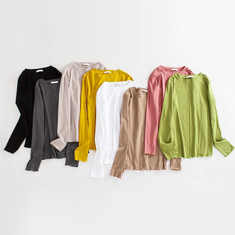 长袖t恤女2019新款潮初秋季韩版白色显瘦修身高领洋气紧身打底衫