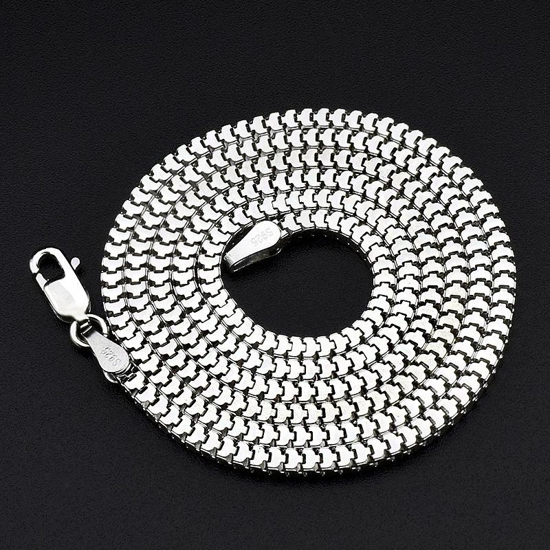 方圆蛇骨链s925银项链男士女粗单链