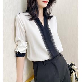左左家 重磅真丝上衣女桑蚕丝衬衫高端大牌洋气长袖V领黑白撞色