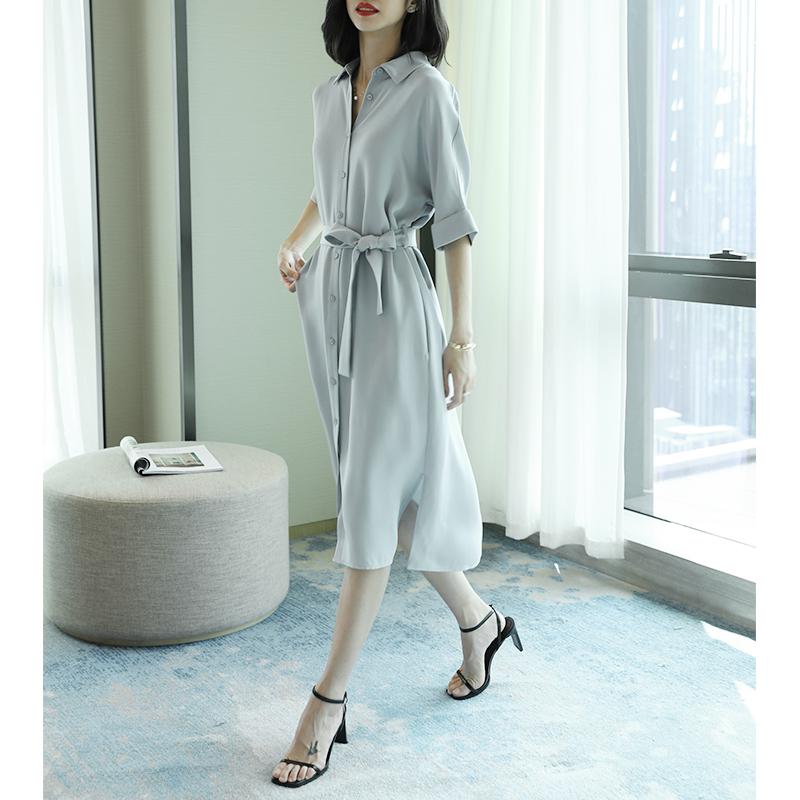 30姆米重磅真丝连衣裙女春秋2020年新款中长款杭州桑蚕丝衬衫裙子