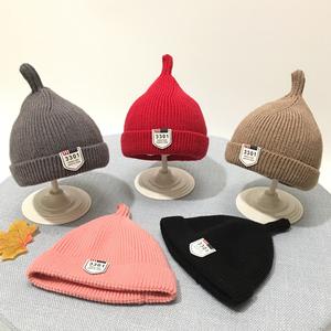 婴儿帽子秋冬针织毛线帽新生儿套头帽婴幼儿男女宝宝保暖奶嘴胎帽
