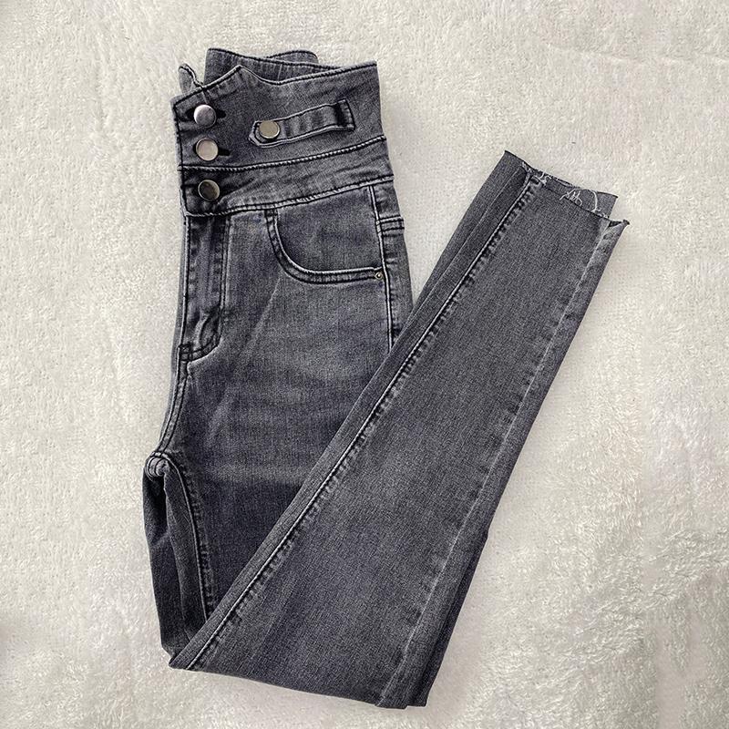 岚岚涵涵女装女士高腰牛仔裤新款韩版时尚修身显瘦铅笔小脚长裤子