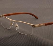 高端实木商务近视眼镜框男士天然木头腿纯半框光学镜架4581369男