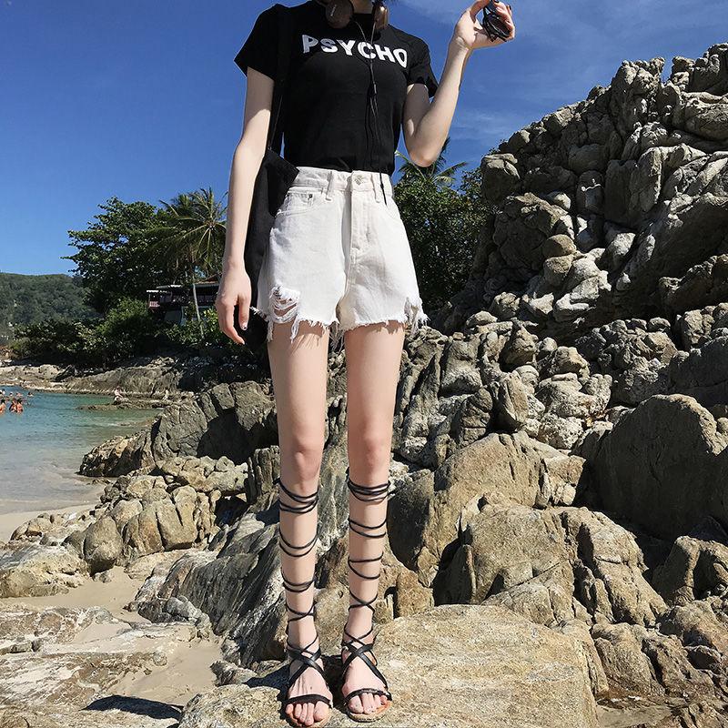 牛仔短裤女2021夏季新款韩版时尚显瘦直筒低腰超短裤破洞热裤子潮