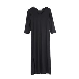 2020春秋季新款修身V領連衣裙女休閒長裙中長款打底裙顯瘦開叉裙