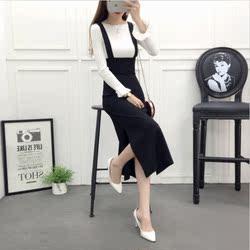 开叉吊带裙女2020春秋季新款韩版时尚连衣裙中长款背带裙女装裙子