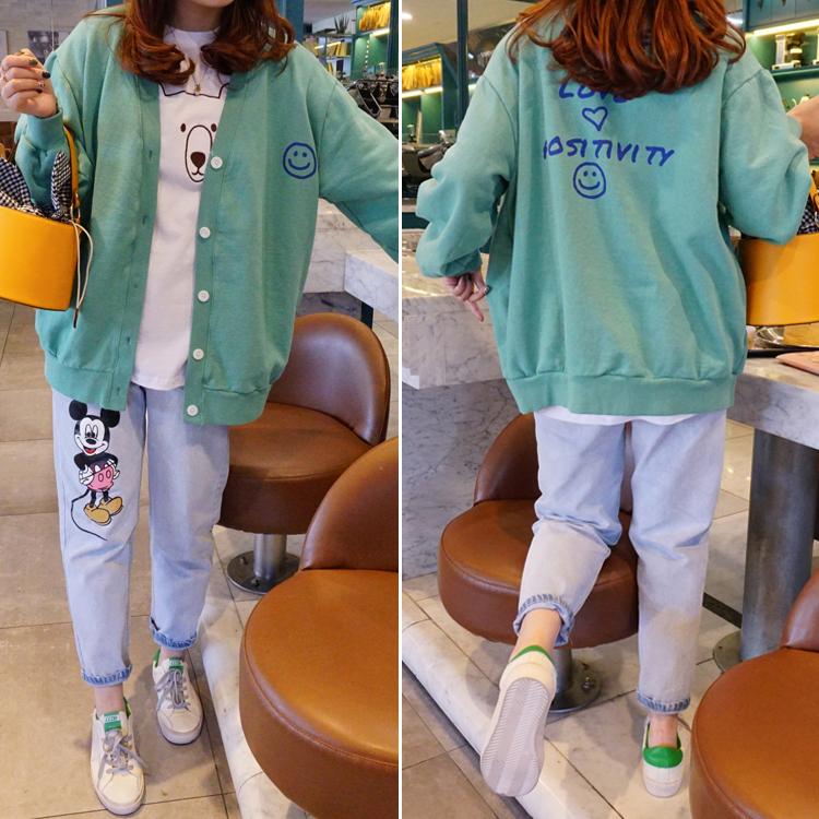 兔美善韩国进口代购女装 21春新 纯色字母表情图案外套 特