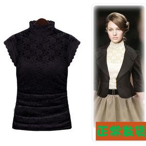 蕾丝上衣女打底衫夏装新款韩版大码女装高领无袖修身蕾丝T恤