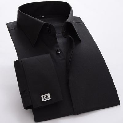 男士大领法式衬衫商务修身双扣高领新郎服双叠袖正装长袖衬衣袖扣