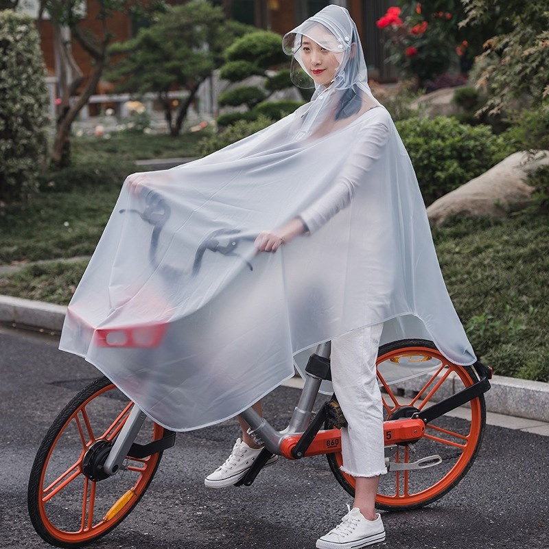 Transparent bicycle bike, raincoat, floor bike, single student electric folding bicycle, thickened waterproof poncho bicycle