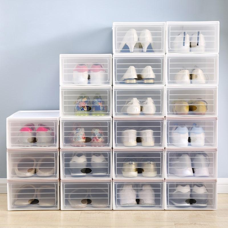 加厚盒子鞋盒整理防潮式组合抽屉收纳盒鞋靴子箱透明塑料鞋子鞋箱