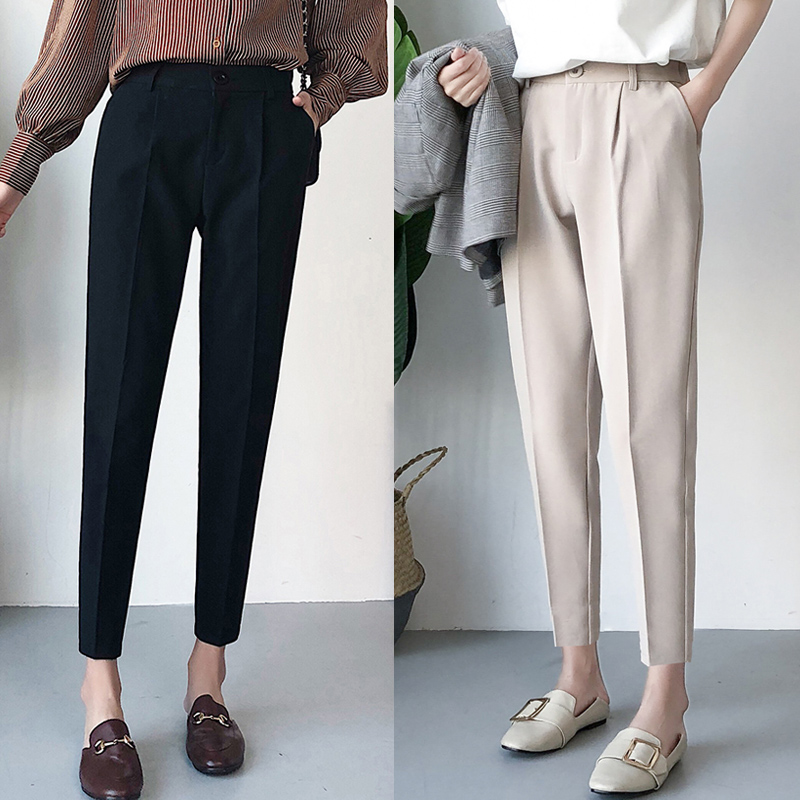 Real Shot 2019 New Style Suit Pants Female L Cropped Pants Loose Students Feet Leisure Harem Pants 1890 with Visual