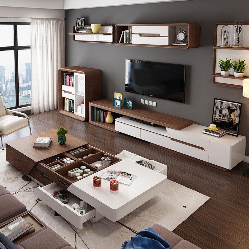 Кофейный столик телевизионный шкаф комбинированный набор современный простой гостиная полный мебель небольшой квартира зеркало телескопической творческий мебель
