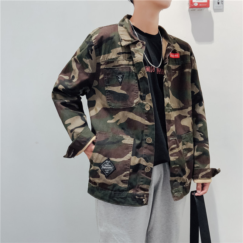 Spring and autumn tide brand jeans jacket mens Hong Kong Style loose casual work clothes camouflage jacket mens youth coat fashion