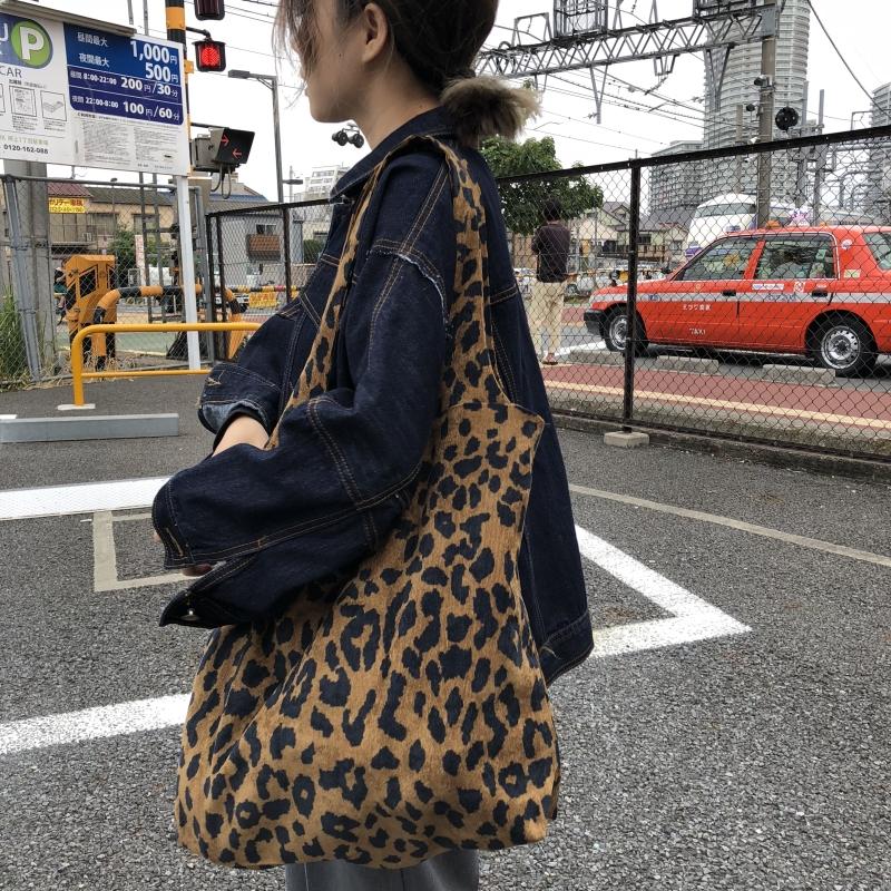 荒荒定制 原创复古时髦豹纹图案简单百搭布包布袋单肩包