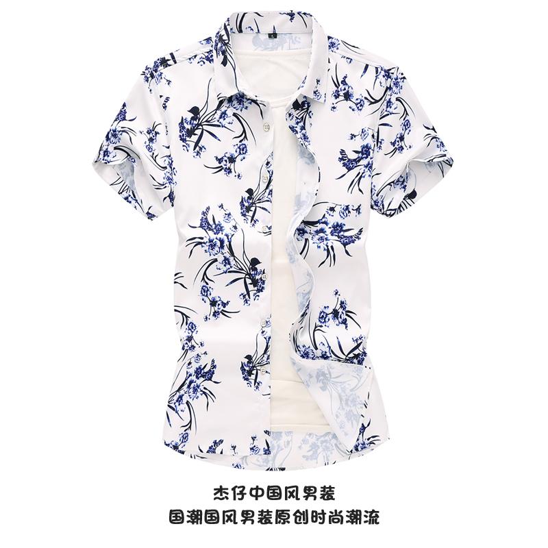 Autumn and summer inch clothes mens short sleeve Floral Print Shirt Mens casual blue and white porcelain shirt beach fashion clothes