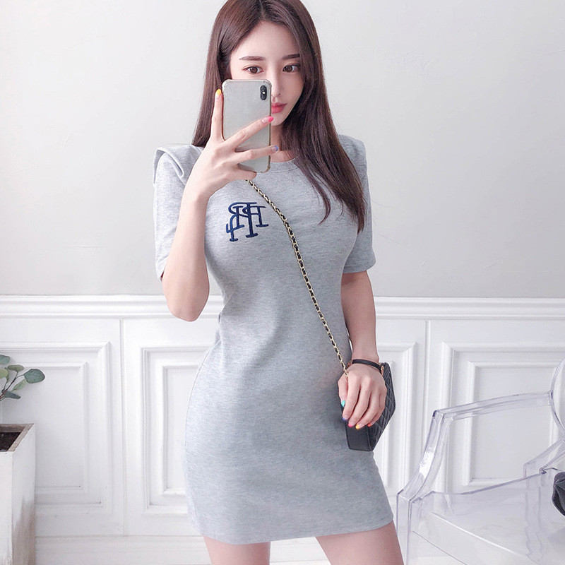 Cross border dress 2020 summer new celebrity temperament knitting T-shirt slim bag hip pencil skirt