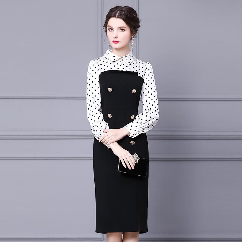 枝荔法式复古连衣裙赫本风2020衬衫