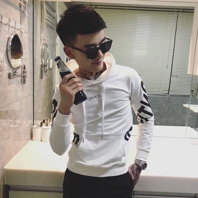 WY06wy06-P65 2019新款男修身连帽套头卫衣男春季帅气印花上衣