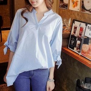 2020夏季女装韩版新款百搭学生宽松清新衬衣系带短袖V领条纹衬衫