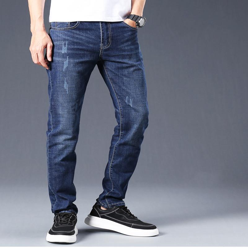 春夏新款年轻男士商务牛仔长裤男装弹性中腰蓝色牛仔布男牛仔裤子
