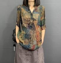 夏季新款韩版女装宽松显瘦文艺碎花中袖立领衬衫褶皱大码百搭衬衣