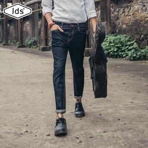 春夏季牛仔裤男黑色破洞弹力修身小脚九分日系修身直筒原色长裤潮
