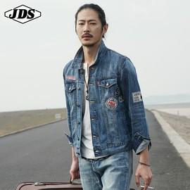 秋季新款牛仔夹克男士韩版宽松潮流百搭徽章元素上衣潮牌春装外套图片