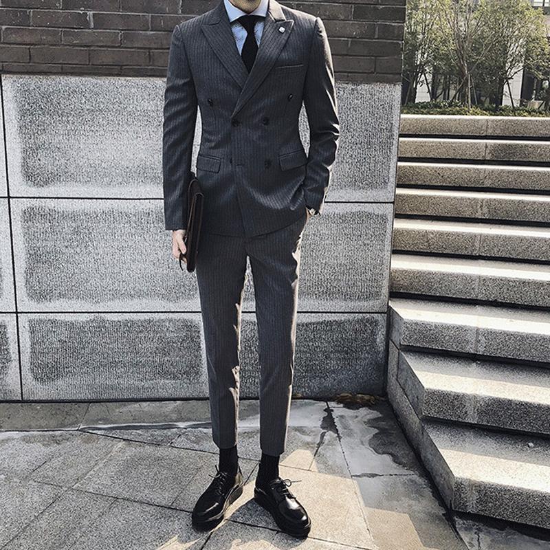 韩国条纹西服套装男韩版修身双排扣小西装英伦商务职业正装礼服潮