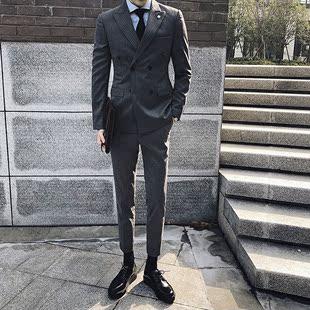 韩国条纹西服套装男韩版修身双排扣小西装英伦商务职业正装婚礼服