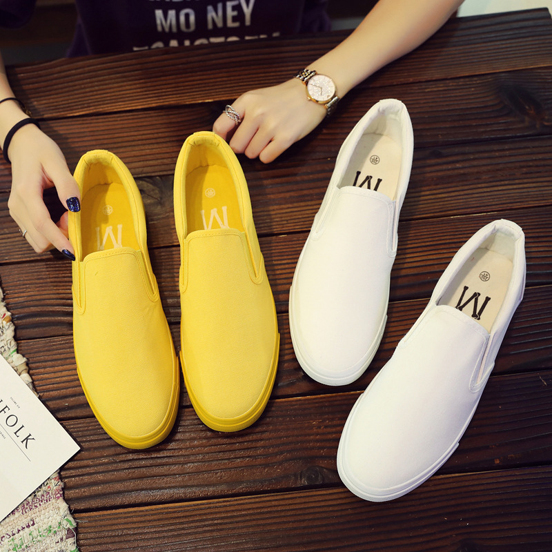 Spring yellow canvas shoes mens shoes trend one foot lazy shoes Korean lovers flat bottom low top breathable casual shoes