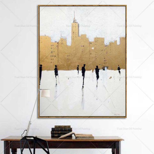 328.00元包邮纯手绘抽象竖版玄关黑白街景油画